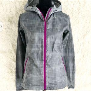 Nike Dri-fit Gray and Purple plaid running Jacket